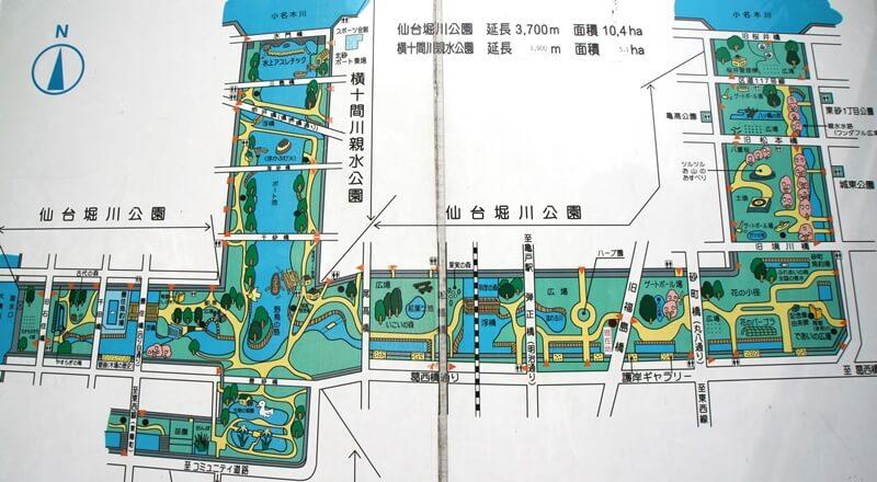 仙台堀川親水公園マップ