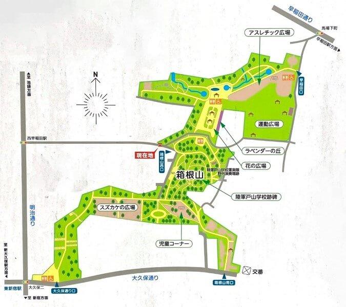 戸山公園箱根山地区マップ