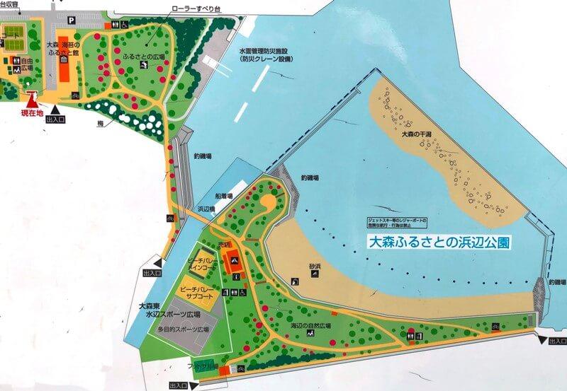 大森ふるさとの浜辺公園マップ